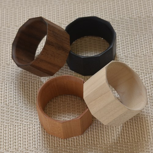 松葉聡|天然木ナプキンリング|面取り|おもてなしの器通販 IVORY